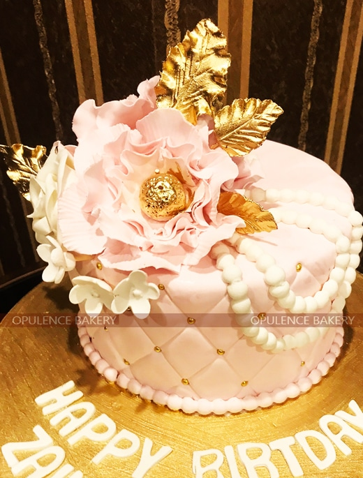 Pink Golden Customized Cake Studio Lahore