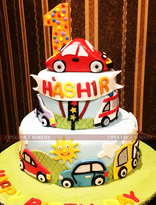 2 tier baby boy car fondant cake