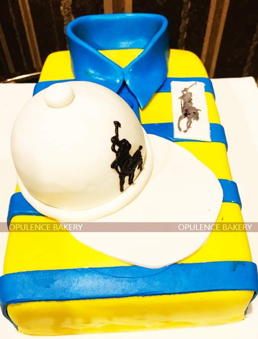 yellow blue polo fondant cake in 5 pounds